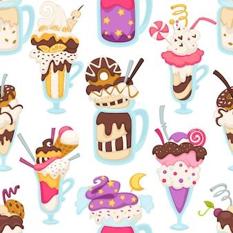 Sobremesa gelada de sorvete servida em xícara, sorvete com chocolate, pirulito e cobertura. decoração de rosquinhas e biscoitos, doces e pirulitos. padrão sem emenda, plano de fundo ou impressão, vetor em estilo simples