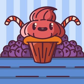 Sobremesa kawaii, ilustração de comida brilhante
