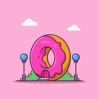 Sobremesa loja ícone dos desenhos animados ilustração. conceito de ícone de edifício de fast food isolado. estilo flat cartoon