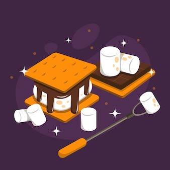 Sobremesa s'mores de design plano ilustrado