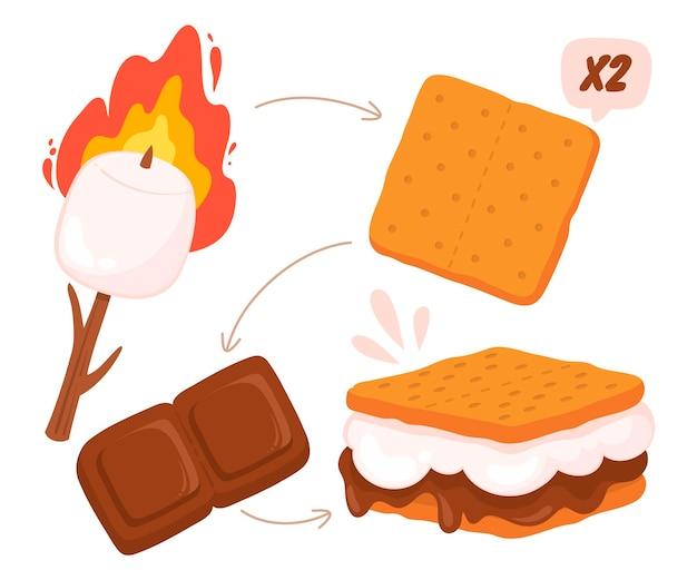 Sobremesa s'mores desenhada ilustrada