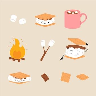 Sobremesa s'mores plana ilustrada
