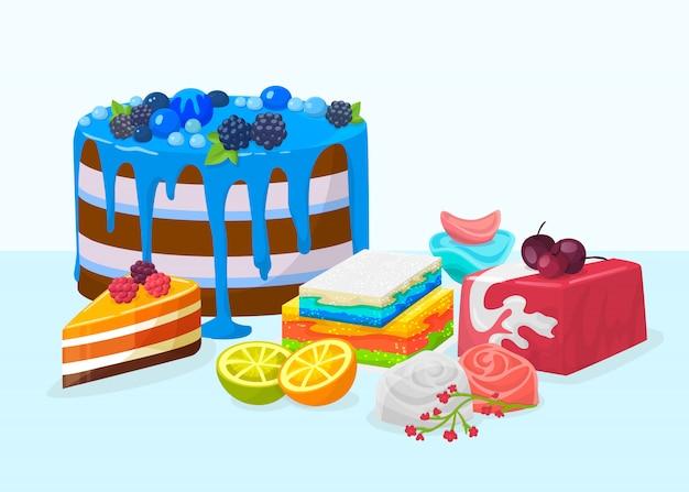 Sobremesas, bolos na ilustração da tabela. bolos deliciosos doces sobremesas festivos decorados com várias frutas