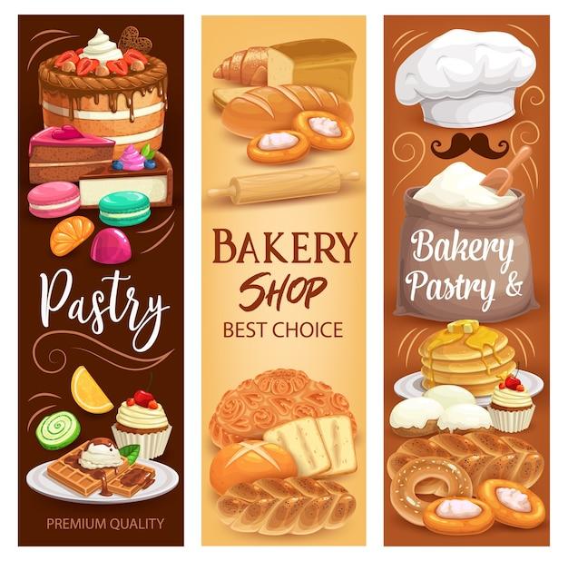 Sobremesas de bolos, pão de padaria e pastelaria doce