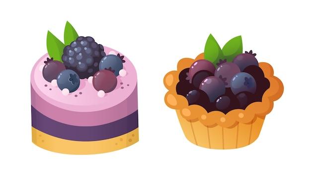 Sobremesas de frutas da floresta. ilustração isolada.