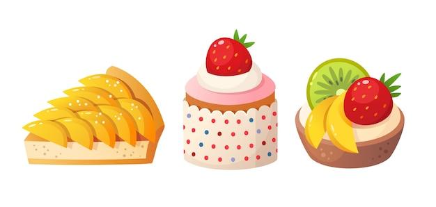 Sobremesas de frutas de verão. bolo de pêssego, torta de frutas e bolo de frutas. ilustração isolada.