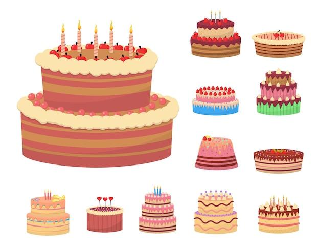 Sobremesas deliciosas coloridas, bolos de aniversário com velas comemorativas e rodelas de chocolate