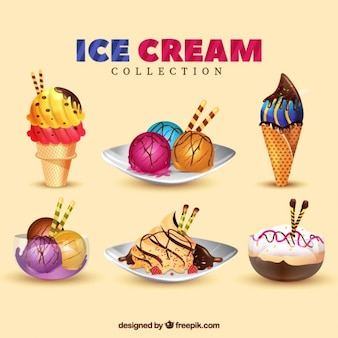 Sobremesas deliciosas e pacote de gelados
