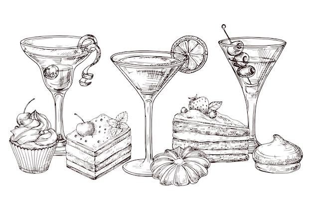 Sobremesas desenhadas à mão e cocktails suaves em fundo branco