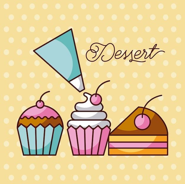 Sobremesas doces cupcakes e fatias de bolo com saco de creme de gelo