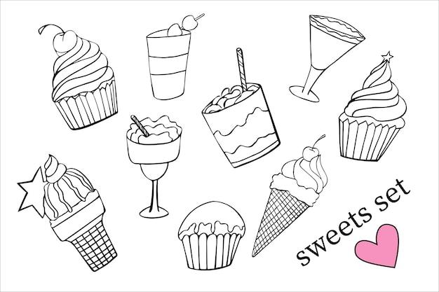 Sobremesas doces doodle conjunto desenhado à mão em preto e branco