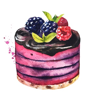 Sobremesas doces em aquarela. bolo de aquarela.