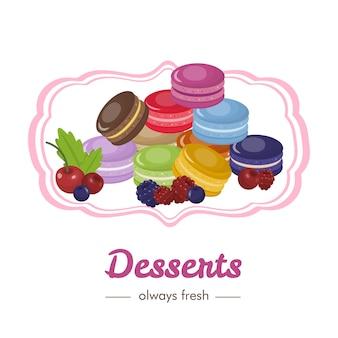 Sobremesas doces francesas com frutos e bagas de anúncios