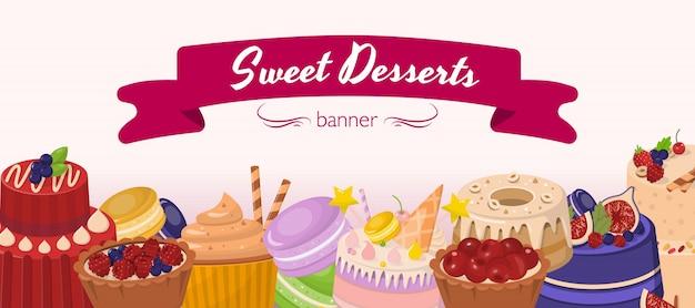 Sobremesas doces horizontal banner plana de desenhos animados