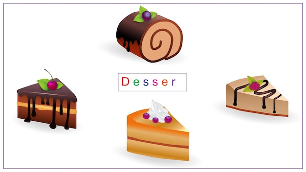 Sobremesas doces multicoloridas. comida, creme doce, bolo, pastelaria.