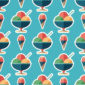 Sobremesas e doces congelados padrão sem costura arte plana.