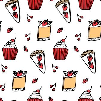 Sobremesas padrão sem costura fundo de doces tortinha de cupcakes e torta de morango em branco