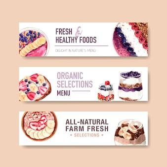 Sobremesas saborosas, design de modelo de cabeçalho panorâmico