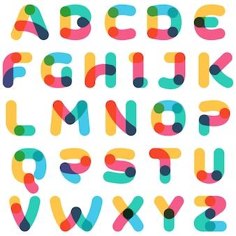Sobrepondo o alfabeto de uma linha. fonte curva arredondada. cores vibrantes e brilhantes.