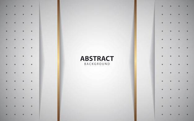 Sobreposição branca abstrata camadas fundo com linha dourada