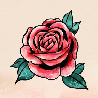 Sobreposição de adesivo de flor de rosa vermelha em aquarela