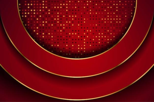 Sobreposição de círculo vermelho abstrato com pontos de brilhos e combinação de linha dourada desenha o fundo de tecnologia futurista de luxo moderno