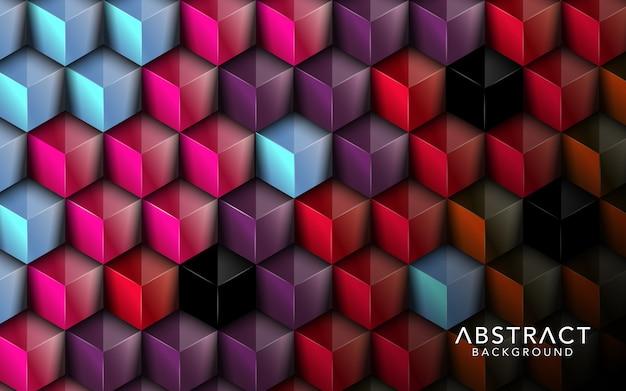 Sobreposição de cubos de fundo colorido