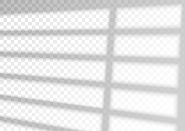 Sobreposição de efeito de sombra. janela de sobreposição transparente e sombra de persianas.
