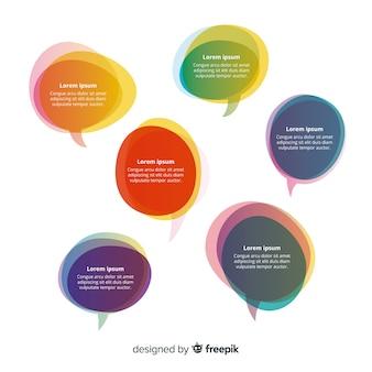 Sobreposição de formas coloridas para balões de fala com espaço de cópia