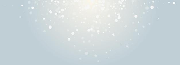 Sobreposição de fundo panorâmico cinza do vetor da queda de neve. banner de tempestade de neve caindo cinza. padrão de neve elegante. ilustração de floco de neve de brilho.