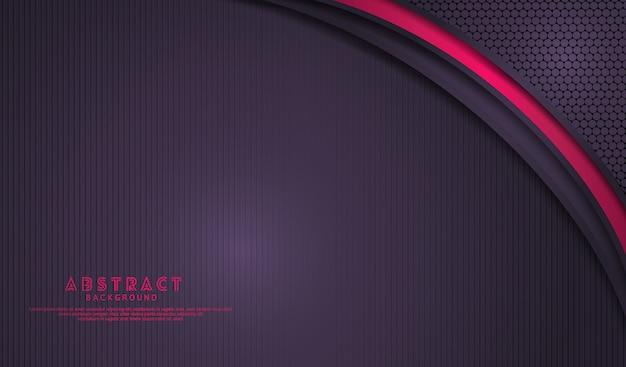 Sobreposição de fundo roxo escuro elegante camadas com efeito de linhas-de-rosa brilhantes nas linhas texturizadas escuro