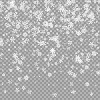 Sobreposição de neve branca caindo realista em fundo transparente cenário de queda de neve