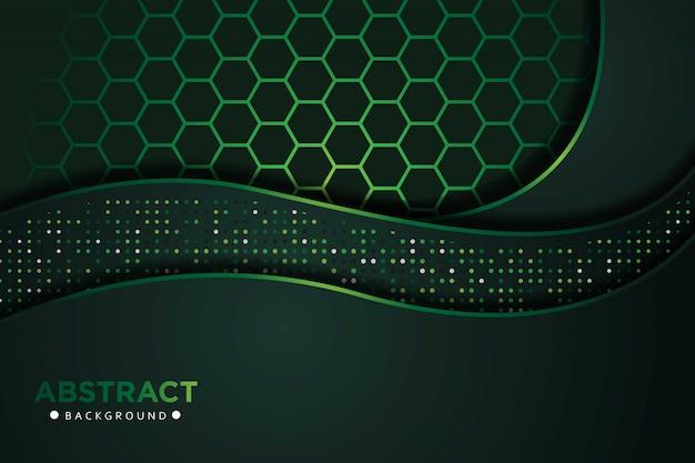 Sobreposição de onda abstrata verde escuro com brilhos dotts e hexágono malha combinação design moderno luxo tecnologia futurista fundo