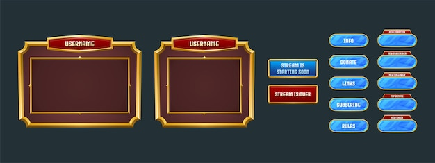 Sobreposição de streaming, tela de streaming de quadro de twitch do jogo