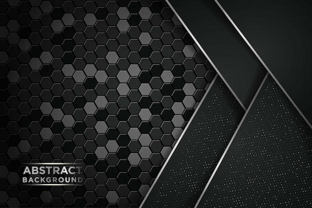 Sobreposição escura abstrata com pontos de brilhos e fundo de tecnologia futurista de luxo moderno de malha hexágono