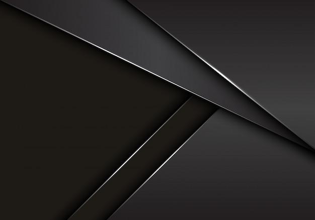 Sobreposição metálica cinzenta cinzenta no fundo escuro do espaço vazio.