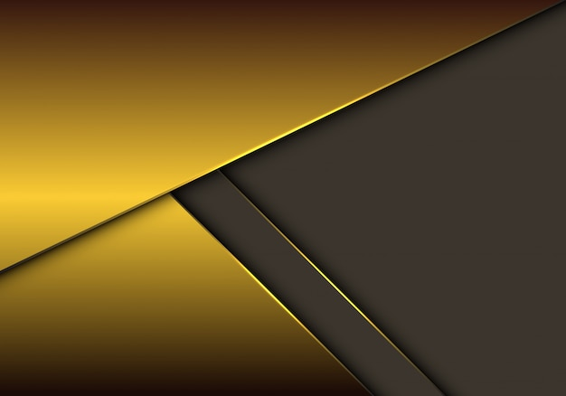 Sobreposição metálica do ouro no fundo cinzento do espaço vazio.