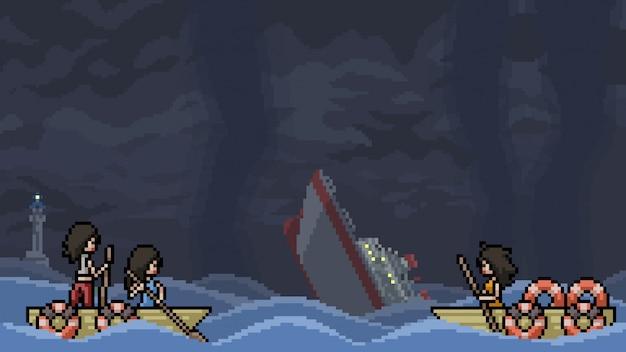 Sobrevivente de naufrágio de cena de pixel art