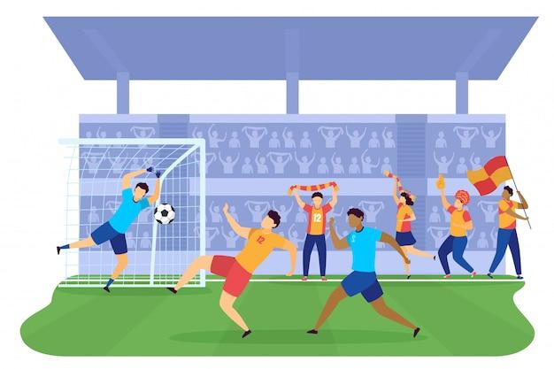Soccers jogadores de futebol chutando a bola em portões na ilustração de tadium de campo verde, soccers profissionais de pessoas.
