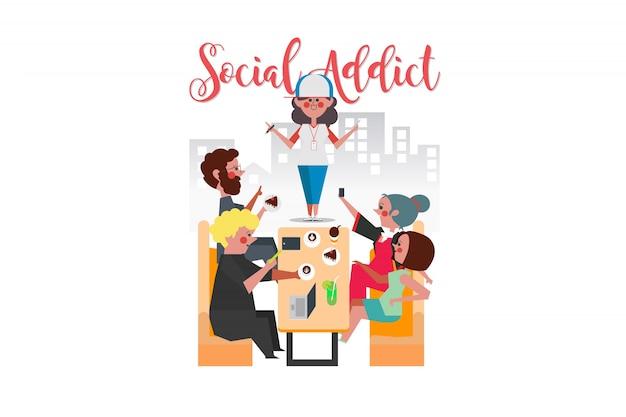 Social addict, jovens e mulheres sentados em cafés, todos usam telefones inteligentes, desenho de personagens de desenho estilo plano