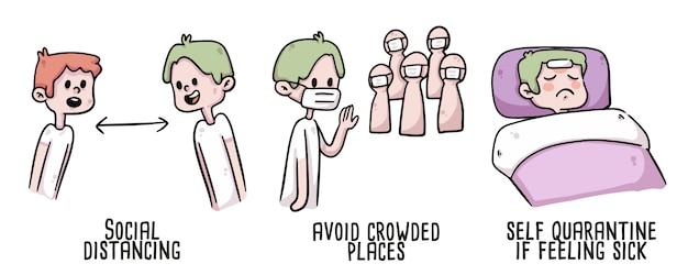 Social bonito distanciamento ilustração de coronavírus