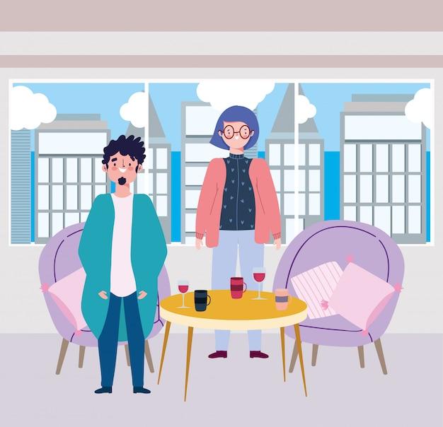 Social distanciamento restaurante ou um café, jovem casal com vinho e xícaras de café na mesa