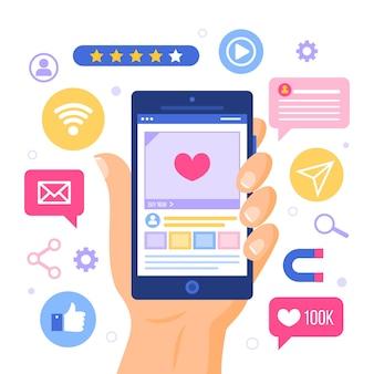 Social e conceito de telefone móvel de marketing de conexão