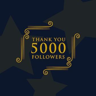 Social media 5000 seguidores obrigado design de mensagem