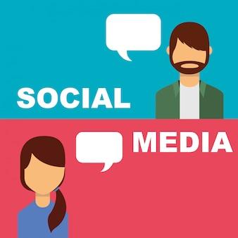 Social media banner pessoas discurso bolha falando