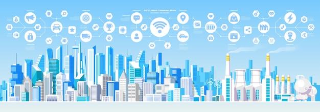 Social media communication internet network connection city skys