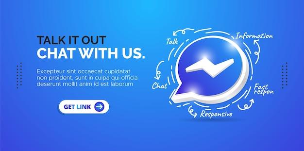 Social media design facebook messenger. bandeira