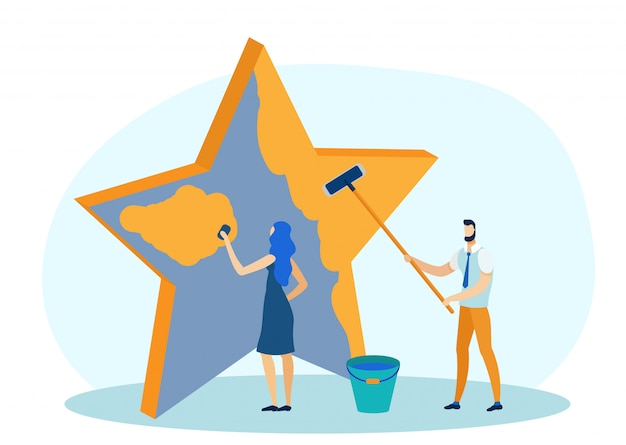 Social media marketing, pintura estrela vector.