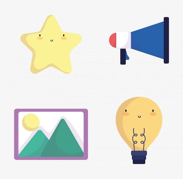 Social media megaphone starimagem ícones de lâmpada de criatividade