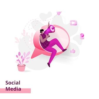 Social media, o conceito de homens sendo promovidos usando um microfone